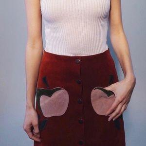 Suede Midi Skirt - Apple Pockets, Vintage